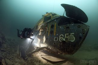 Royal Navy Wessex MK3 Helicopter underwater in England