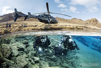 Helicopter scuba diving Iceland Silfra