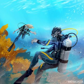 scuba diver with leg cramp is swept away by the current