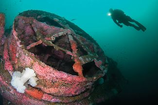 Wreck diving on the HMCS Yukon in San Diego, California