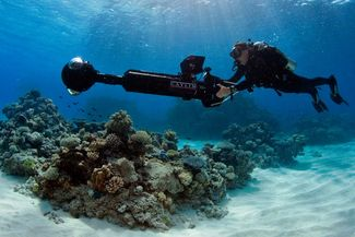 A Catlin Seaview Diver Surveying Underwater