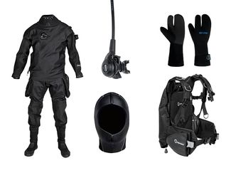 Scuba Drysuit, hood, regulator, gloves and BC for Cold Water Diving