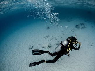 a diver glides over sand