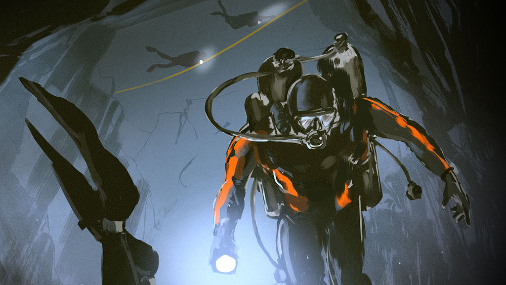 Illustration cave divers leave their safety line