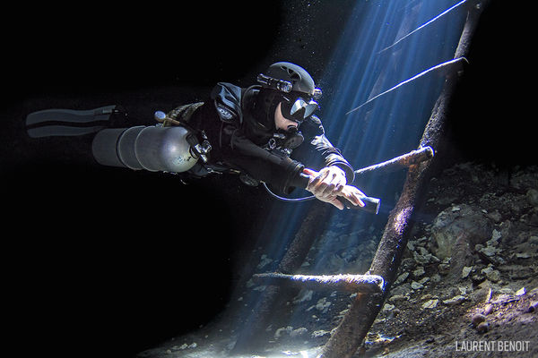 Scuba Diver Underwater Photo Mexico Cave System