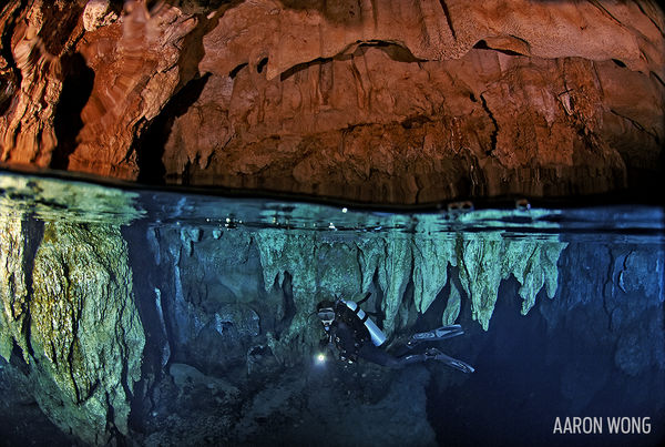 Underwater Photo Cave Diver in Palau Chandelier Cave