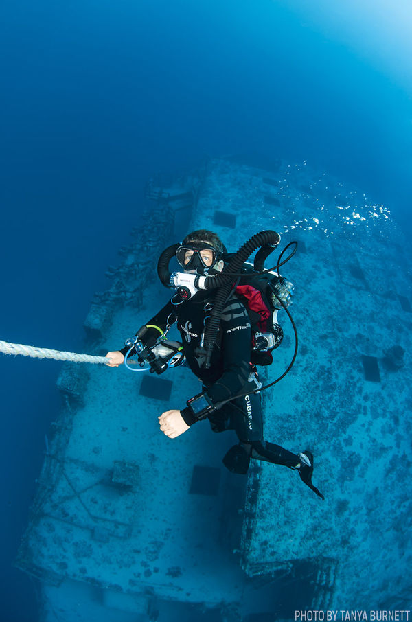 Diver near wrecks in Morehead City, North Carolina