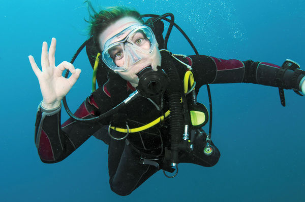 Happy Diver Under the Water