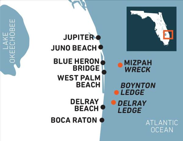 Map of Dive Sites in Palm Beach County Florida
