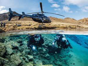 Helicopter scuba diving Iceland Silfra fissure and more